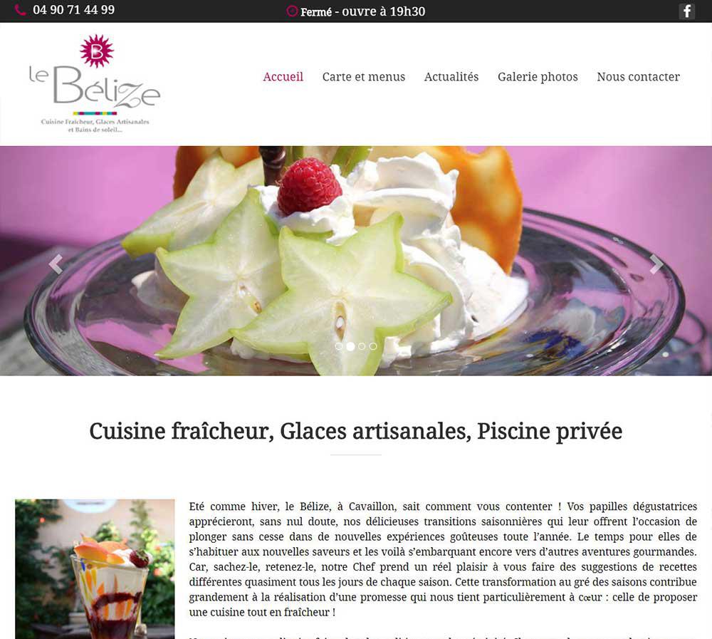 Le site internet du restaurant Le Bélize