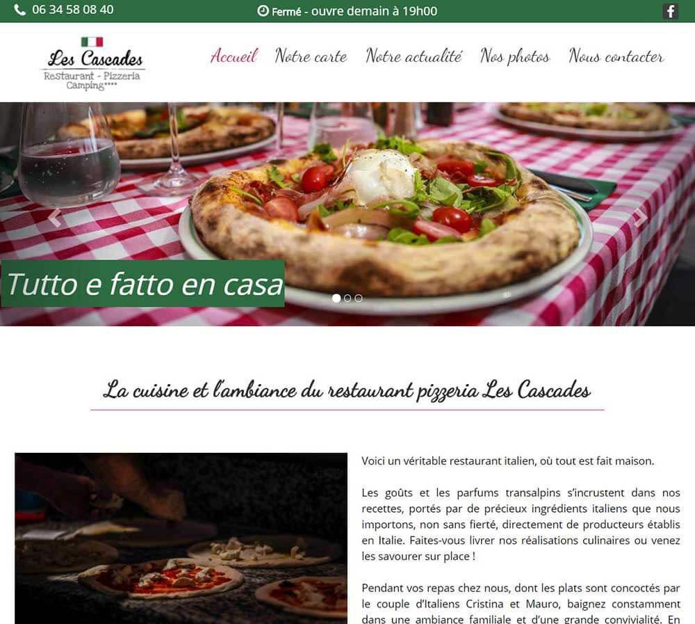 Le site internet du restaurant Les Cascades