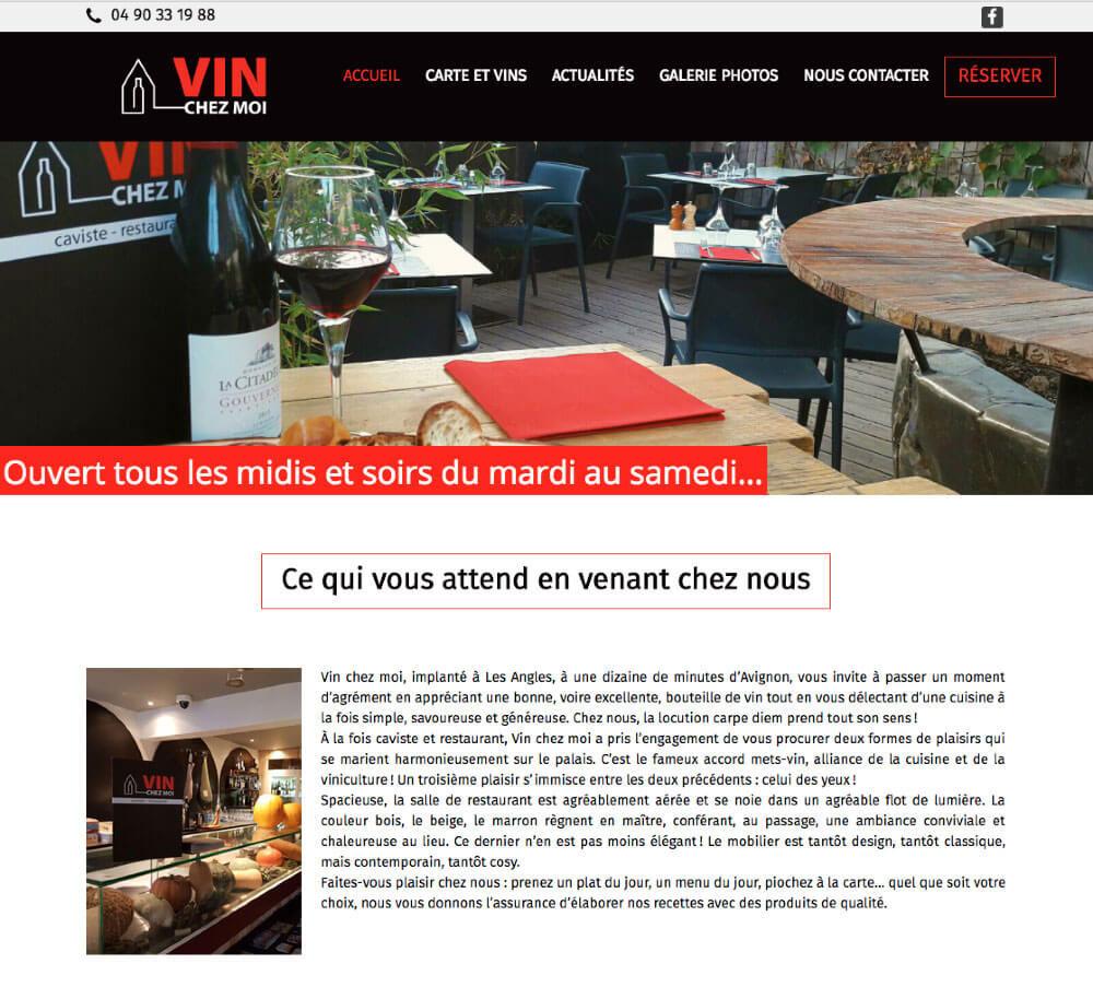 Le site internet du restaurant Vin Chez Moi